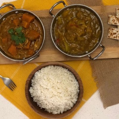 Coconut Chicken Curry, Mango Chutney and Gluten-Free Naan Bread