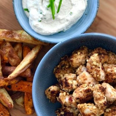 Popcorn Chicken and Chips with a Creamy Cashew & Chive Sauce