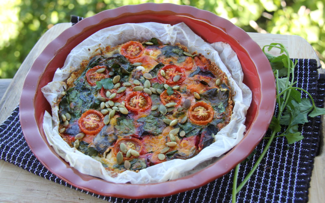 Vegetable and goats cheese tart with a quinoa and Parmesan crust